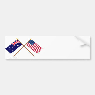 Australia and United States Crossed Flags Bumper Sticker