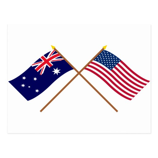 Australia and United States Crossed Flags Postcards