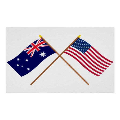 Australia and United States Crossed Flags Poster