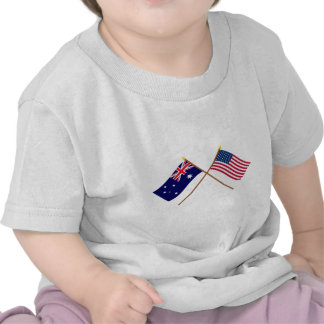 Australia and United States Crossed Flags Tshirts