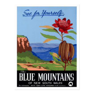 Blue mountains postcards zazzle au australia blue mountains restored vintage poster postcard m4hsunfo