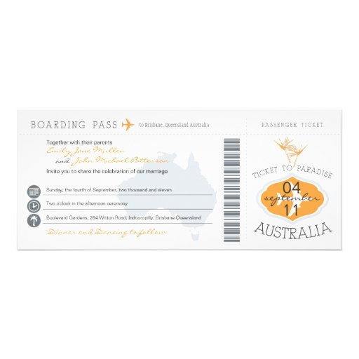 Australia Boarding Pass Wedding Invitation