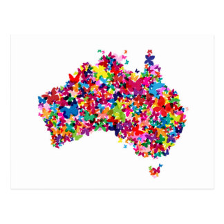 Australia Butterfly Map Postcard