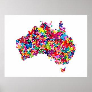 Australia Butterfly Map Print