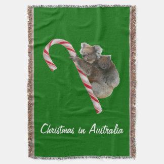 Australia Christmas Koalas on Candy Cane Throw Blanket