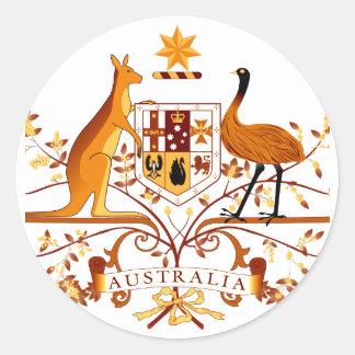 Australia COA Brown Classic Round Sticker