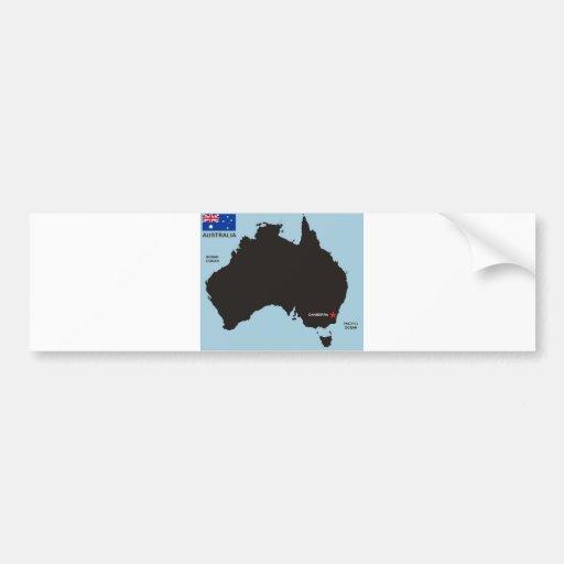 australia country black map shape flag bumper stickers