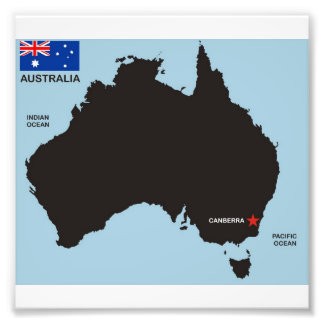 australia country black map shape flag photographic print