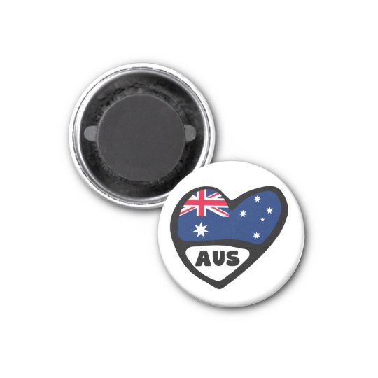 Australia Country Code Flag Heart AUS Magnet