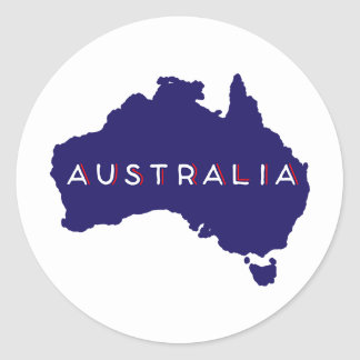 Australia Country Silhouette Classic Round Sticker
