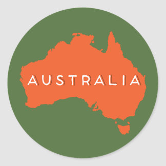 Australia Country Silhouette Round Sticker