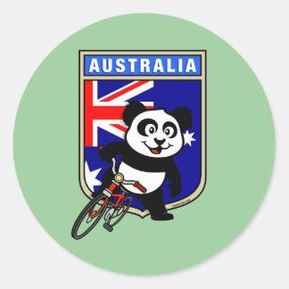 Australia Cycling Panda Classic Round Sticker