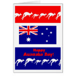 Australia Day Greeting Card, Flag and Kangaroos