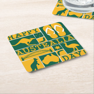Australia Day Square Paper Coaster