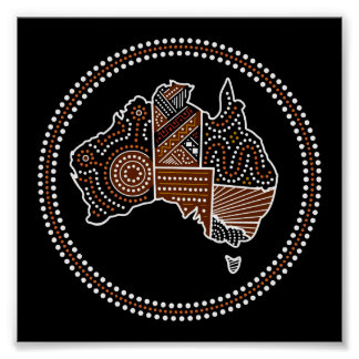 Australia dotted map poster