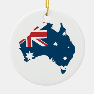 Australia Flag and Map Ceramic Ornament