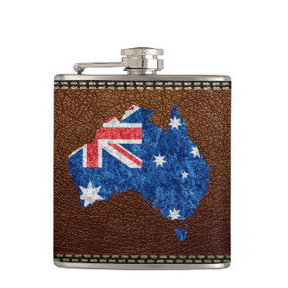 Australia Flag and Map Hip Flask