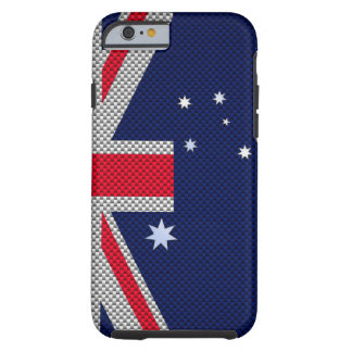 Australia Flag Design in Carbon Fiber Chrome Style Tough iPhone 6 Case