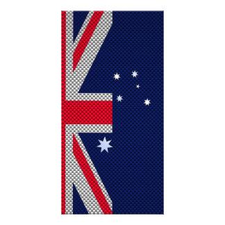Australia Flag Design in Carbon Fiber Chrome Style Photo Cards
