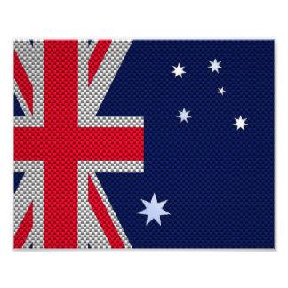 Australia Flag Design in Carbon Fiber Chrome Style Photo Print