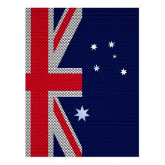 Australia Flag Design in Carbon Fiber Chrome Style Postcard