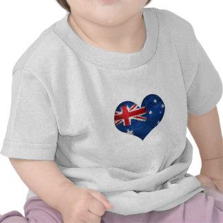Australia Flag Grunge Heart Tee Shirt