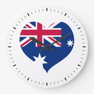 Australia Flag Heart Cutout Wall Clock