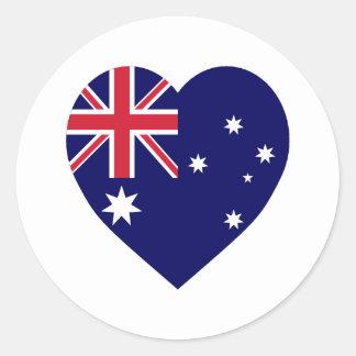 Australia Flag Heart Round Sticker
