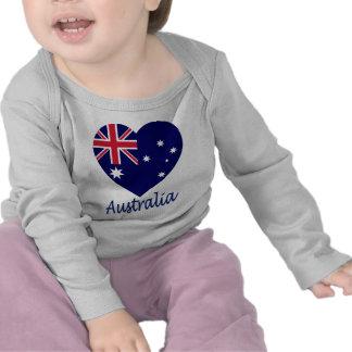 Australia Flag Heart Tee Shirt