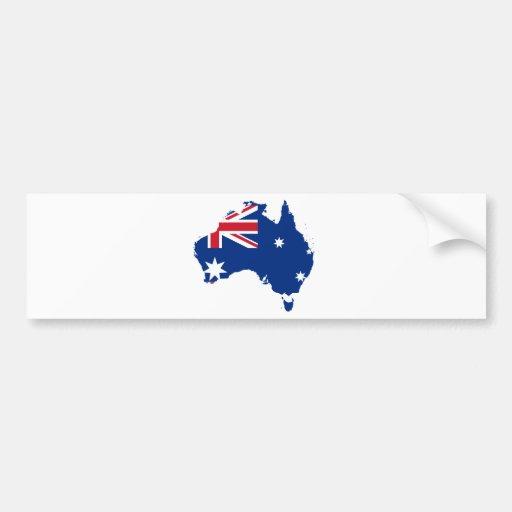 Australia Flag in the shape of Australia Bumper Sticker