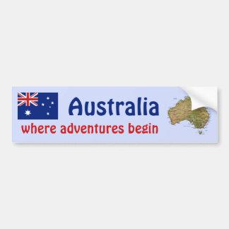Australia Flag + Map Bumper Sticker