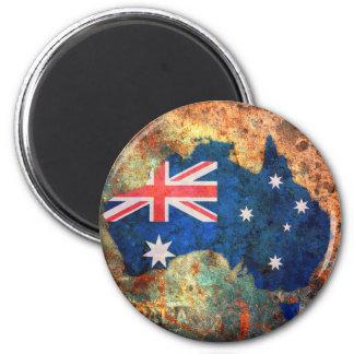 Australia Flag Map 6 Cm Round Magnet
