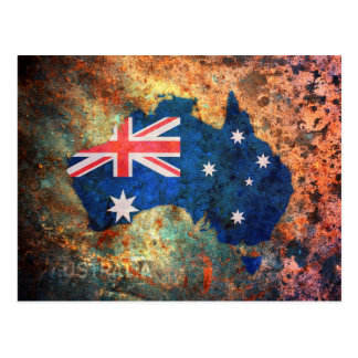Australia Flag Map Postcard