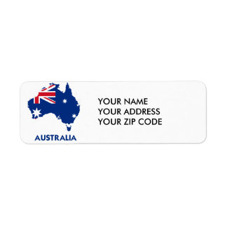 AUSTRALIA FLAG MAP RETURN ADDRESS LABEL