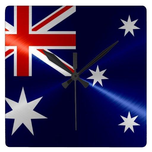 Australia Flag Metallic Metal Wallclock