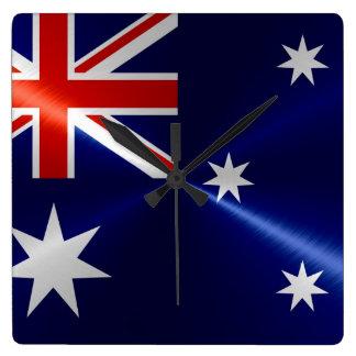 Australia Flag Metallic Metal Square Wall Clock