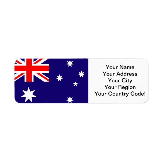 Australia Flag Return Address Label