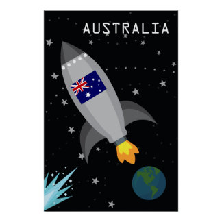Australia Flag Rocket Ship Poster