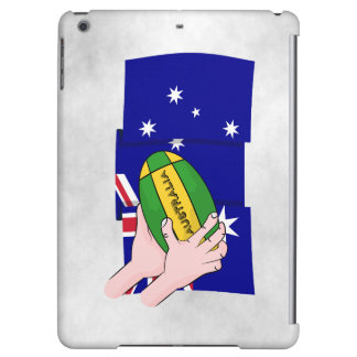 Australia Flag Rugby Ball Cartoon Hands