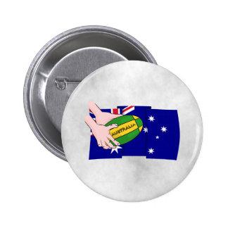 Australia Flag Rugby Ball Cartoon Hands 6 Cm Round Badge