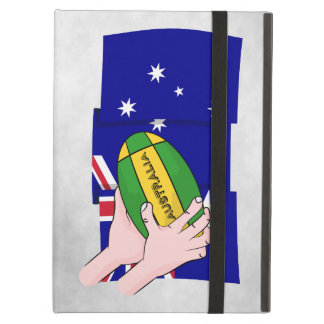 Australia Flag Rugby Ball Cartoon Hands iPad Air Cover