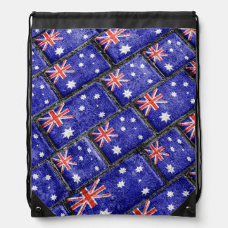 Australia Flag Urban Grunge Pattern Drawstring Bag