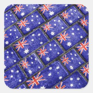 Australia Flag Urban Grunge Pattern Square Sticker