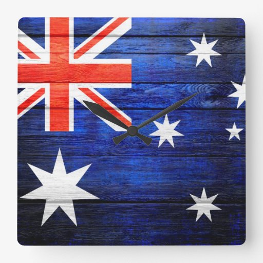 Australia Flag Vintage Wood Clocks