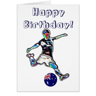 Australia Football soccer birthday card