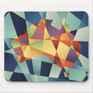 Australia Geometric Retro Map Mouse Pad