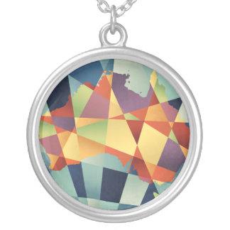 Australia Geometric Retro Map Round Pendant Necklace