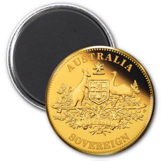 Australia Gold Sovereign 6 Cm Round Magnet
