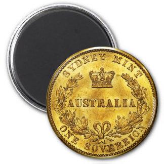 Australia Gold Sovereign Vintage 6 Cm Round Magnet