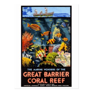 Australia Great Barrier Coral Reef Vintage Poster Postcard